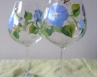 handpainted wine glass with blue flower,morning glory, Mothers Day gift idea