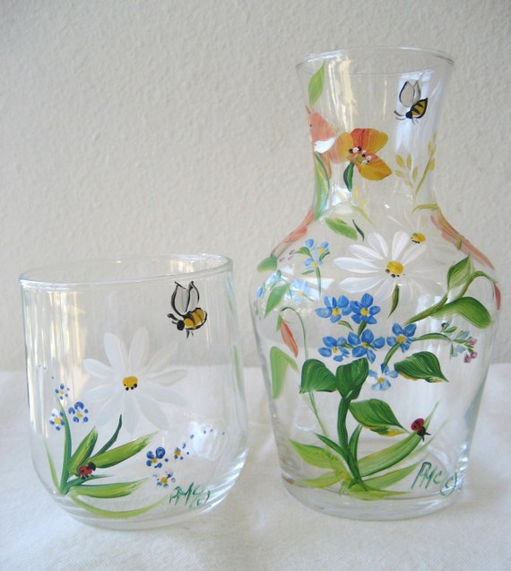 handpainted bedside carafe, mothers day gift, gift for mom, pattern the same but new design has a ribbed base