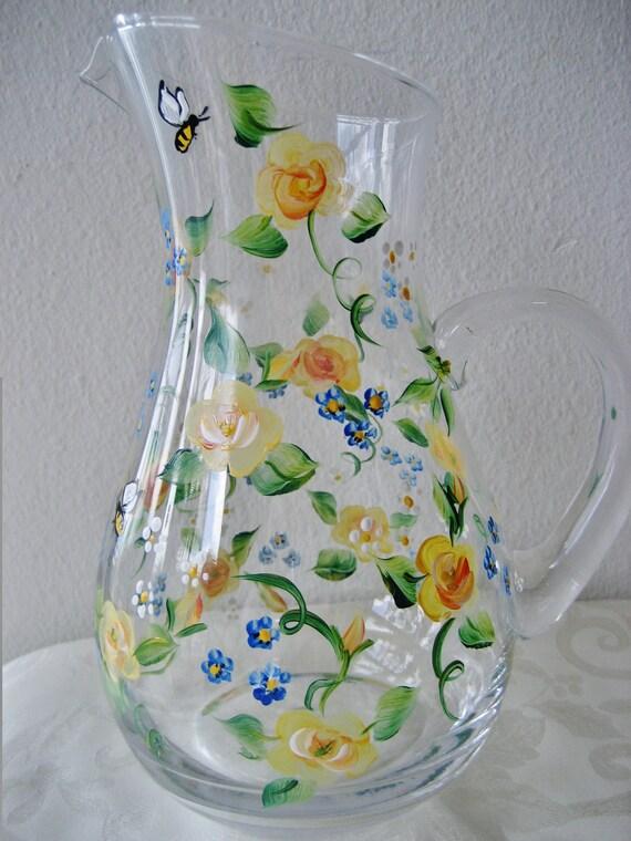 Handpainted yellow rose glass pitcher