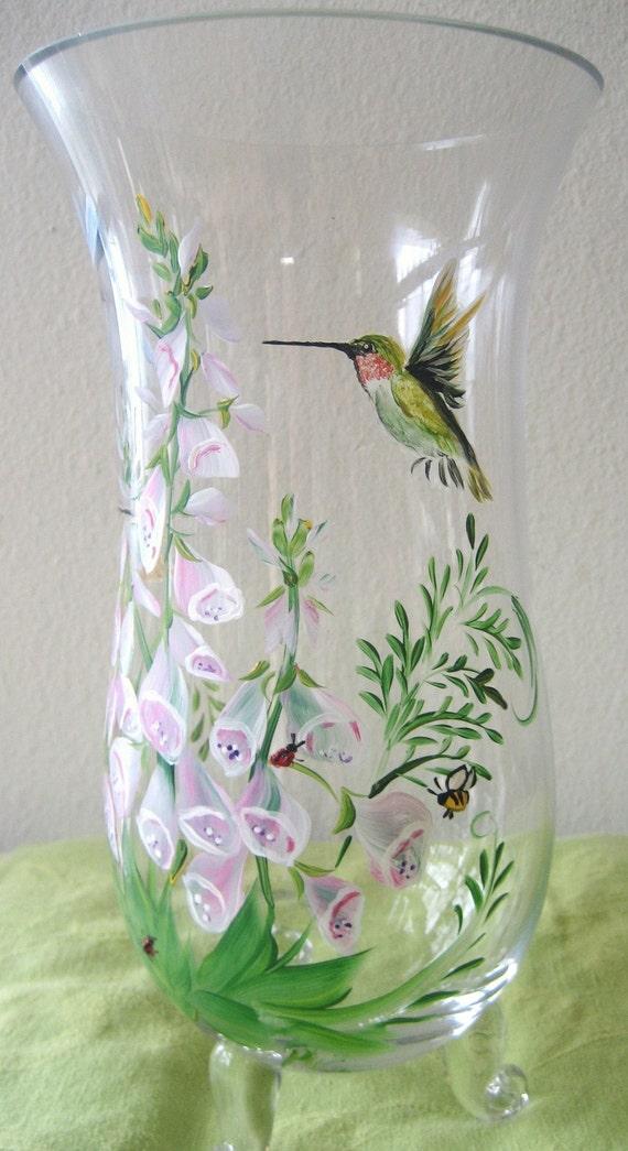 Handpainted humming bird vase