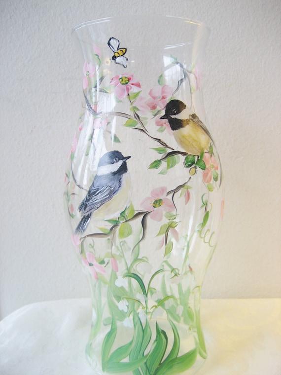 Handpainted glass hurricane with chickadees