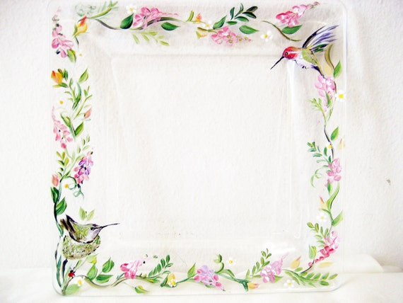 Handpainted glass plate with hummingbirds