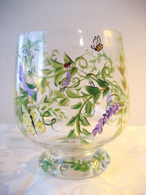 hand painted glass hurricane with fern pattern