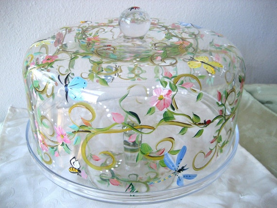 Hand Painted Cake Plate Cake Dome On Pedestal Stand With
