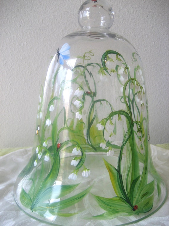 Glass bell jar or cloche, handpainted with lily of the valley, bees and butterflies,garden decor, 10 inches tall