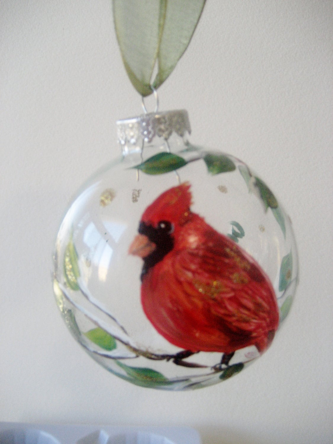 Red Cardinal bird Christmas ornament by TivoliGardens on Etsy