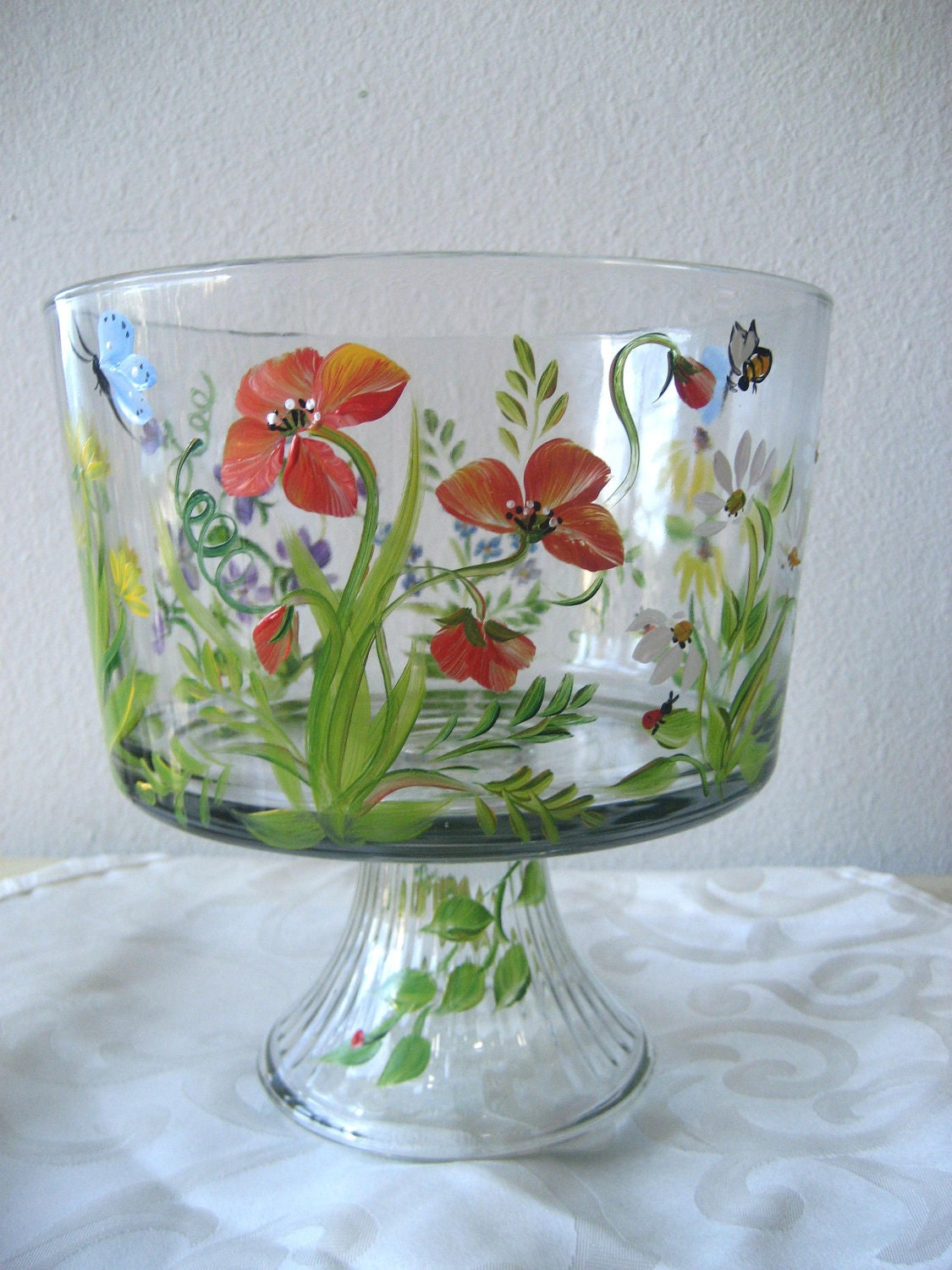 hand painted glass trifle bowl with wildflower