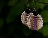 Molly's Purple and Light Brown Round Macrame Earrings