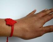 Custom Color Macrame Heart Friendship Bracelet
