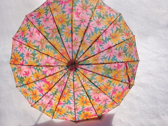Colorful and Dandy Vintage Flowered Umbrella