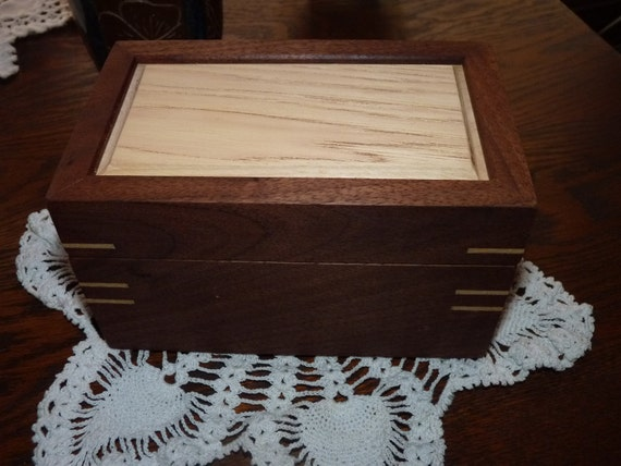 Handcrafted Jewelry/ Keepsake Box  in Walnut and Hickory