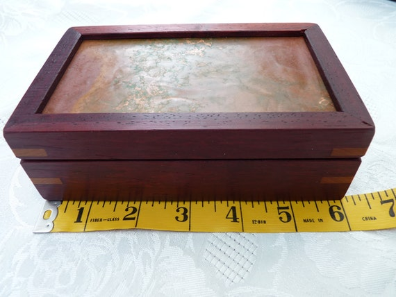 Handcrafted Jewelry/ Keepsake Box in Padauk with /Copper Lid and Cherry Keys