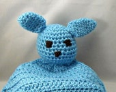 Crochet Bunny Nursery Embroidered Personalized Blue Baby Spring Snuggie Custom Orders Children Infant Baby Shower New Baby Easter