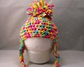 Crochet Orange Teal Lime Green Pink Earflap Hat with Pom Pom
