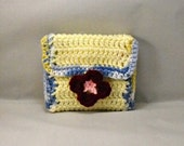 Crocheted Yellow Blue Coin Purse Burgundy Pink Flower Clasp