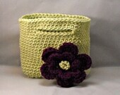 Crochet Purse in Green with Purple Flower Party Favor
