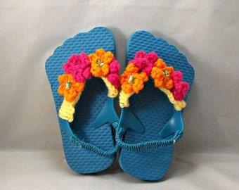 Crochet Teal Flip Flops for Baby, Size M, 9.5