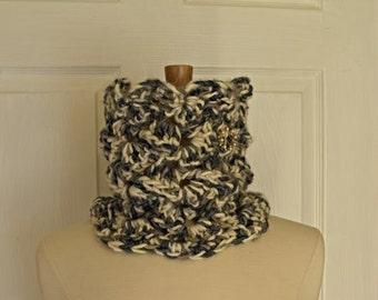 Crochet Black White Neckwarmer/Cowl