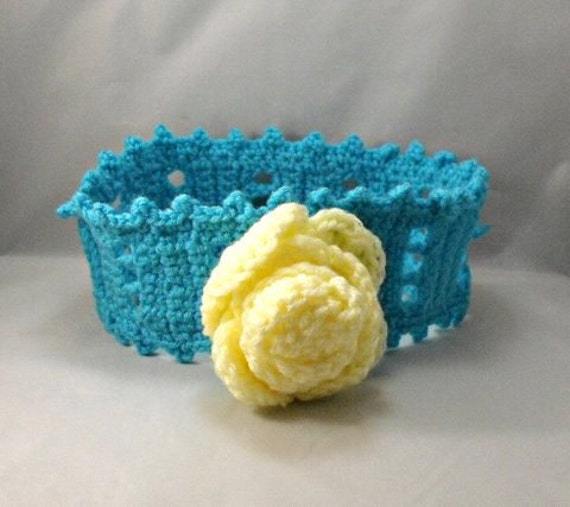 Crochet Headband, the Anna Rose in Turquoise and Yellow Teen/Adult