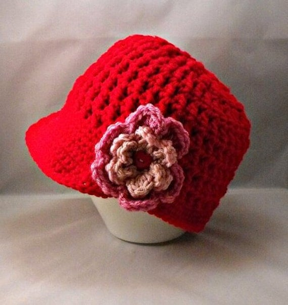 Crochet Red Textured Visor Beanie with Pink Flower Red Heart Button