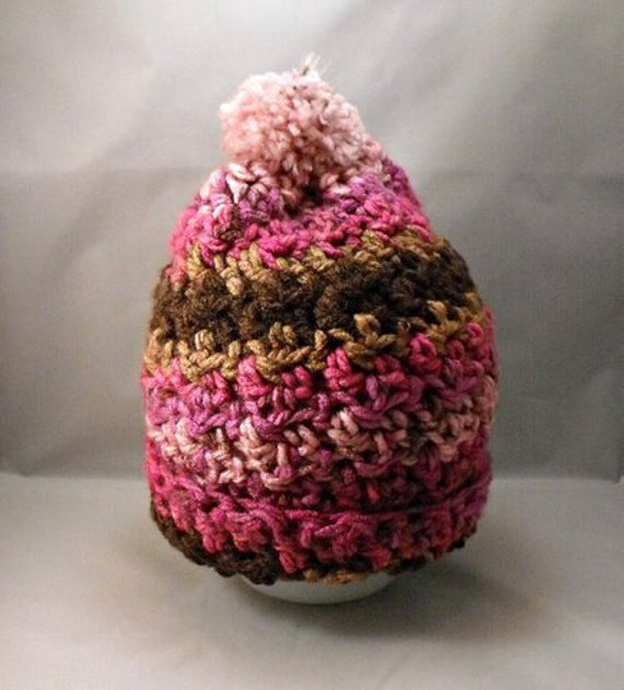 Crochet Hat Pink Brown, Child to Adult
