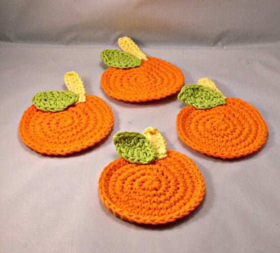 Crochet Pumpkin Coasters Custom Orders Welcome Party Favors, Hostess Gifts, Fall Decor, Housewarming Gift