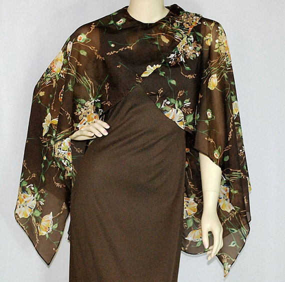 Vintage 70's Maxi Dress with Attached Chiffon Cape
