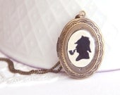 Hand Painted Miniature Sherlock Holmes Silhouette Locket Necklace with Original Watercolour Painting - Made to Order