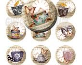 Vintage teacups 1 inch circles bottle cap images - Pendant making - Key chains - Magnets - Digital collage sheet - Instant download