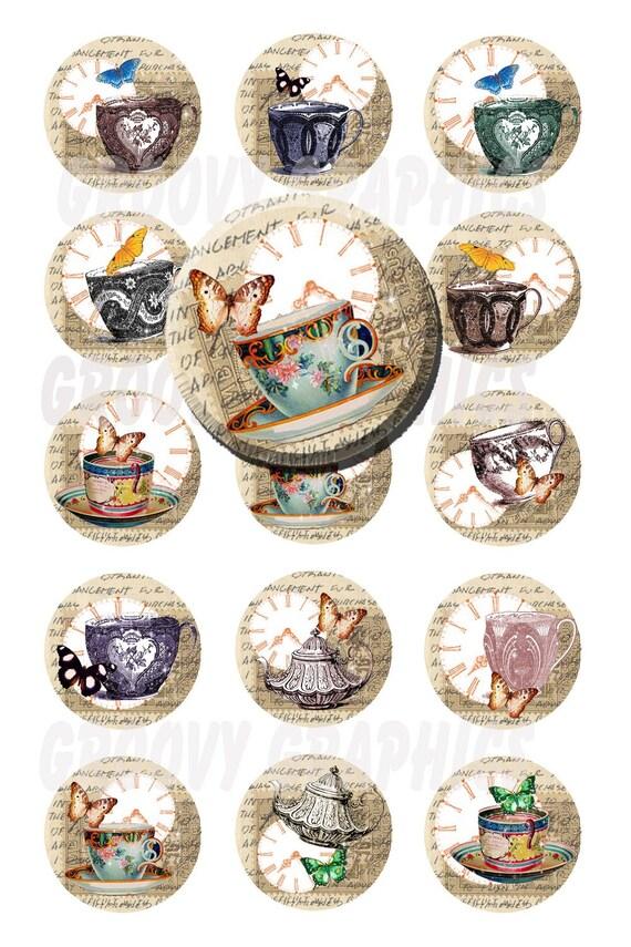 Vintage teapcups 1 inch circles bottle cap images-Pendant making-Keychains-Scrapbooking-Magnets