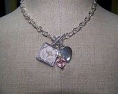 Vintage Lace Solder Art Pendant on Silver Heart Necklace