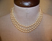 Three Strand Vintage Off White Pearl Necklace