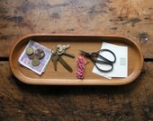 Vintage Long Oval Wood Tray with Red Detailing