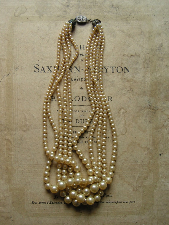Vintage Five Strand Faux Pearl Necklace