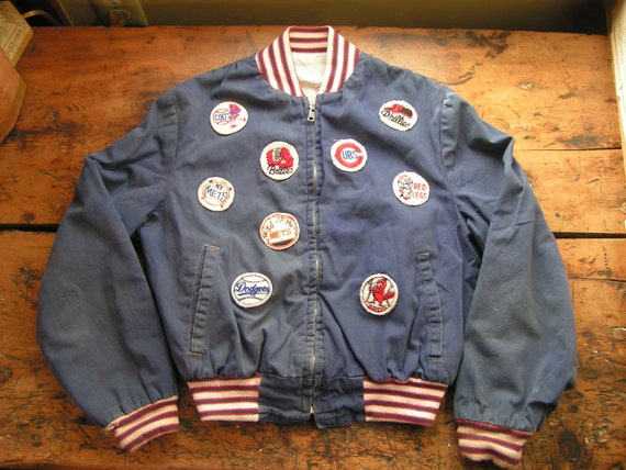 Reserved - Vintage Child's Baseball Jacket with Team Patches