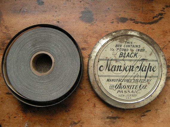 Vintage Tin of Black Okonite Manson Tape