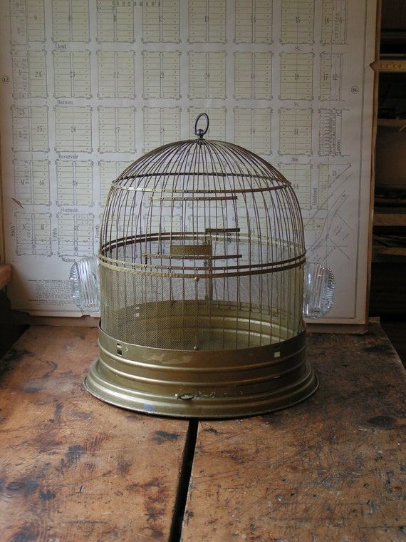 Vintage Round Brass Hendryx Birdcage with clear glass feeders