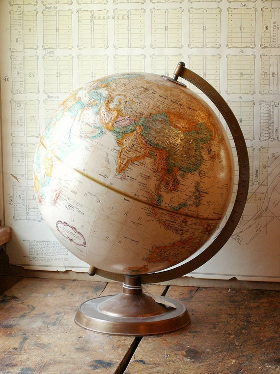 Vintage Sepia Tone 12 inch Replogle Globe