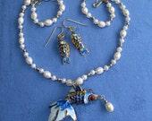 Blue Koi Goldfish Pendant on Pearl Necklace w Fish Earrings