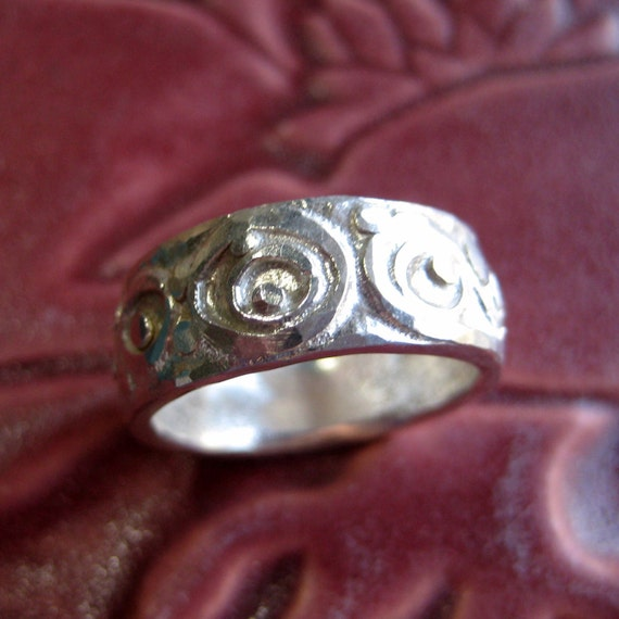 Hammered Band Ring in Heavy Silver, Size 8 & Three Quarters