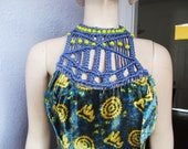 60s Velvet Print Hippie Dress Macrame Rare Original medium
