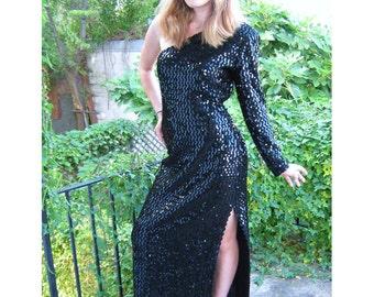 VTG 70s Sequin Dress Climax Karen Okada Dress