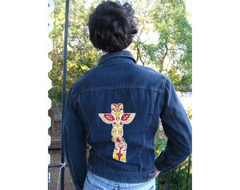 60s Vintage  Denim Jacket  Native American