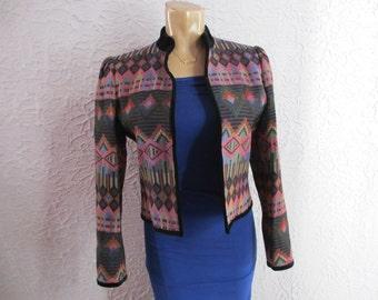 80s Sasson Tapestry Jacket Bolero small medium