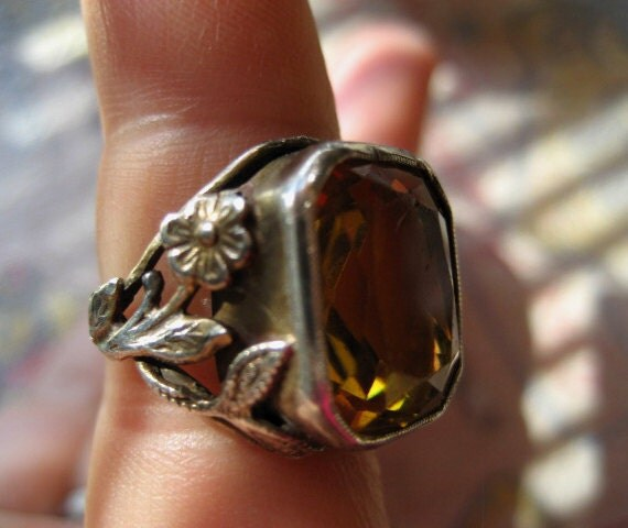 Victorian Topaz Sterling Ring Beautiful Intricate Rare