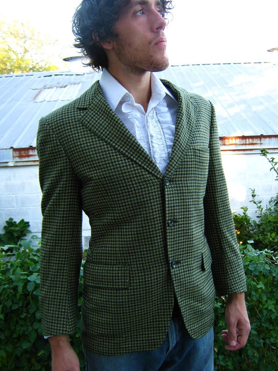 VTG Men's Cashmere Houndstooth Sportscoat Jacket MOD Collegiate med 42