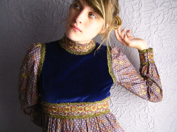 1960s Vtg Giorgio Sant' Angelo Baroque Hippie Dress Designer Vintage