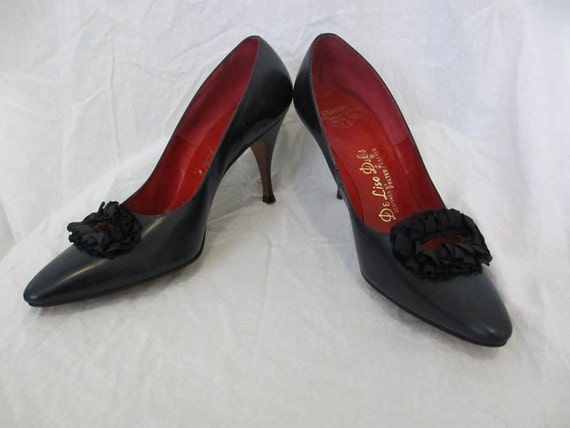 50s Vintage Navy Leather Pumps Shoes 7
