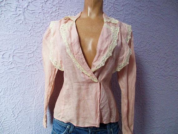 Vintage Linen Lace Edwardian Style Blouse Romantic Beauty Small