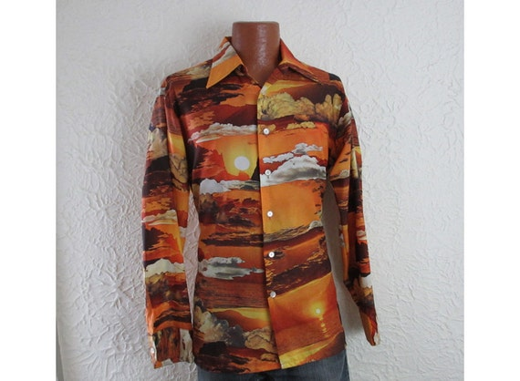 70s Mens Sunset Picture Disco Shirt Joe Namuth large